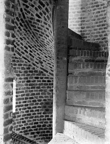 Description: This spiral stair at Faulkbourne Hall, dating from before 1494, shows the versatility of brick as a construction material.