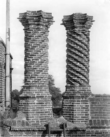 Description: The fashion for chimneys in the Tudor period was for elaborate decoration using both cut and purpose-moulded brick. This example of spiral decoration at Layer Marney Hall is typical.